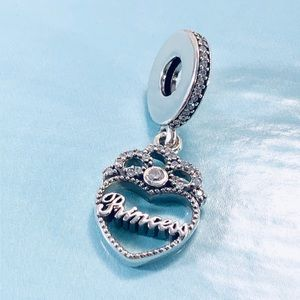 Pandora Princess Crown Heart Dangle Charm